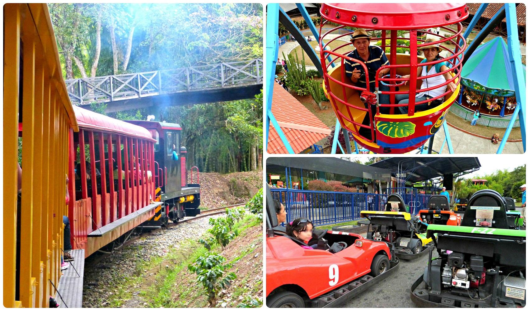 3 atracciones familiares del Parque del Café: tren, rueda panorámica, kart