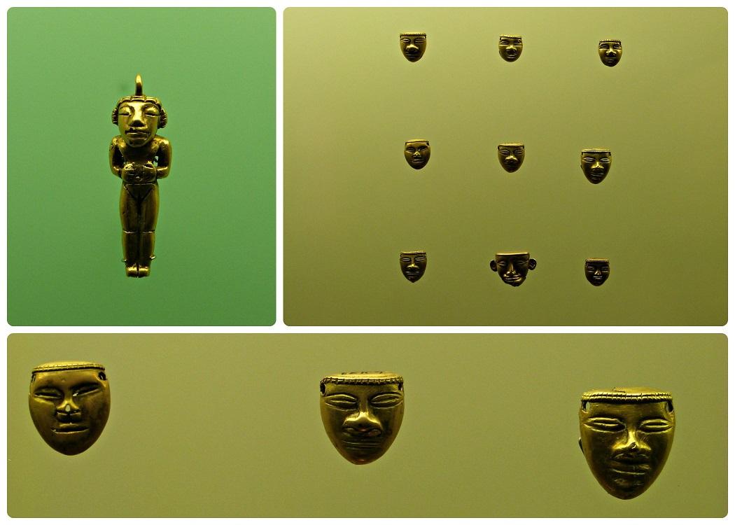 Objets et statuettes présentés au Musée de l'Or d'Armenia