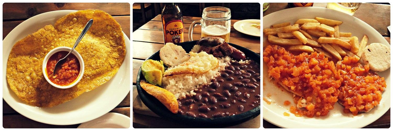 Photos des plats que nous avons commandés au restaurant Balcones del Ayer à Salento