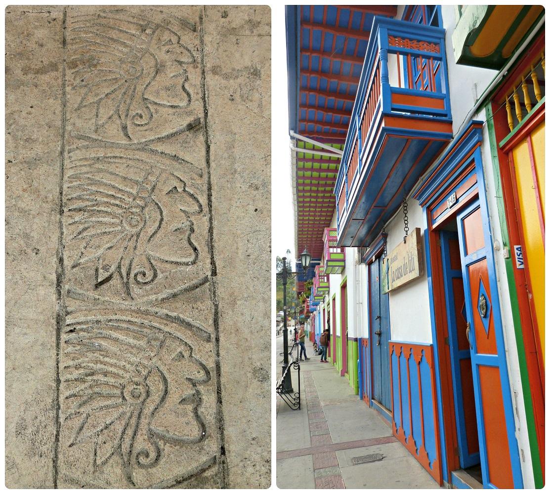 Detalles representando caras de indios encontrados en andenes de las calles de Salento