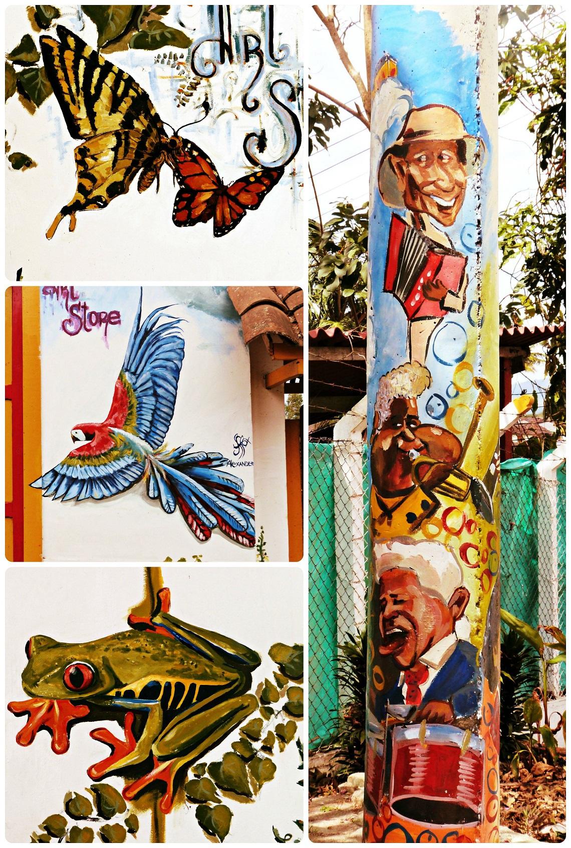 Œuvres de street art, représentant des papillons, un perroquet, une grenouille et des musiciens, sur les murs d'une boutique du village de Salento