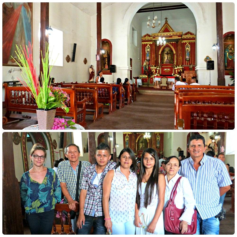 Intérieur de l'église de Riofrío et photo de toute la famille