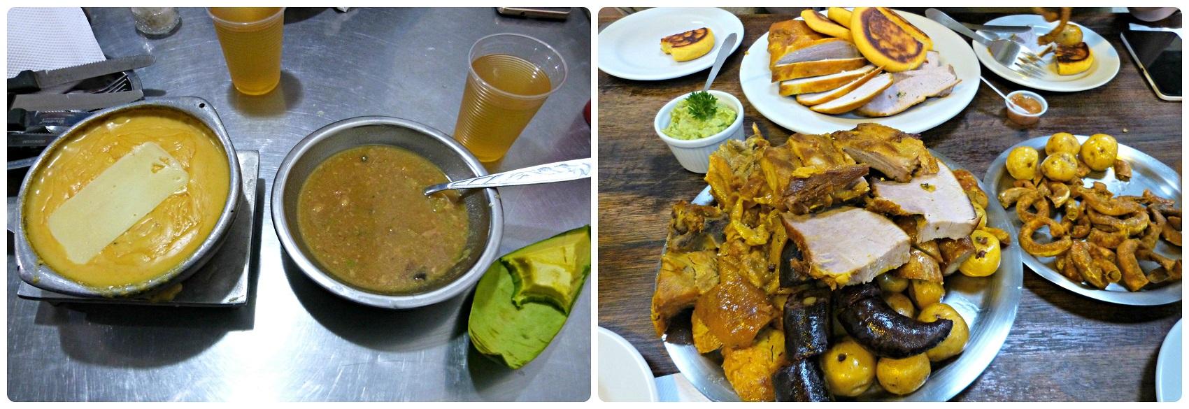 Plats que nous avons commandés dans un restaurant de fruits de mer de Bogotá et un restaurant de picada