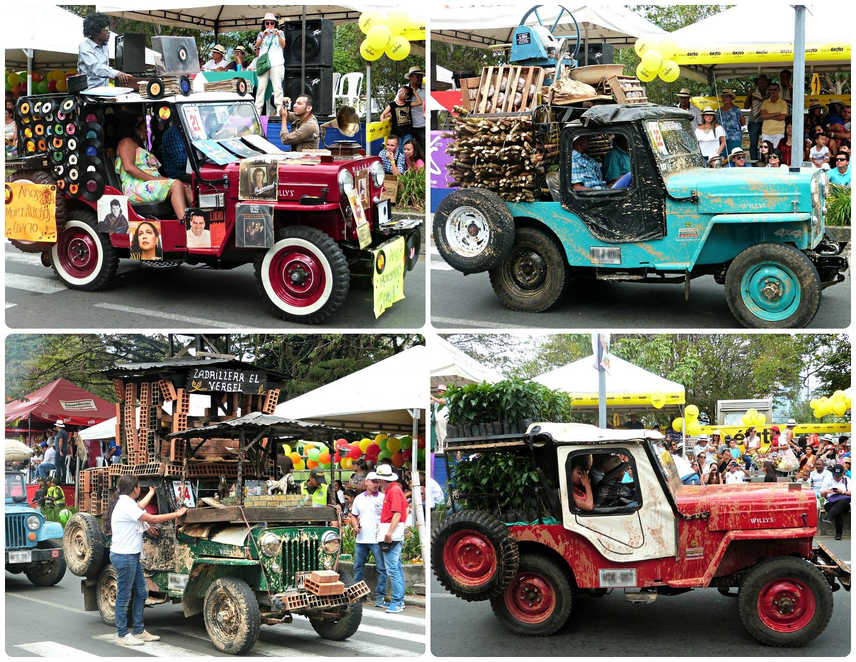 4 jeeps avec leur thématique au défilé Yipao à Armenia