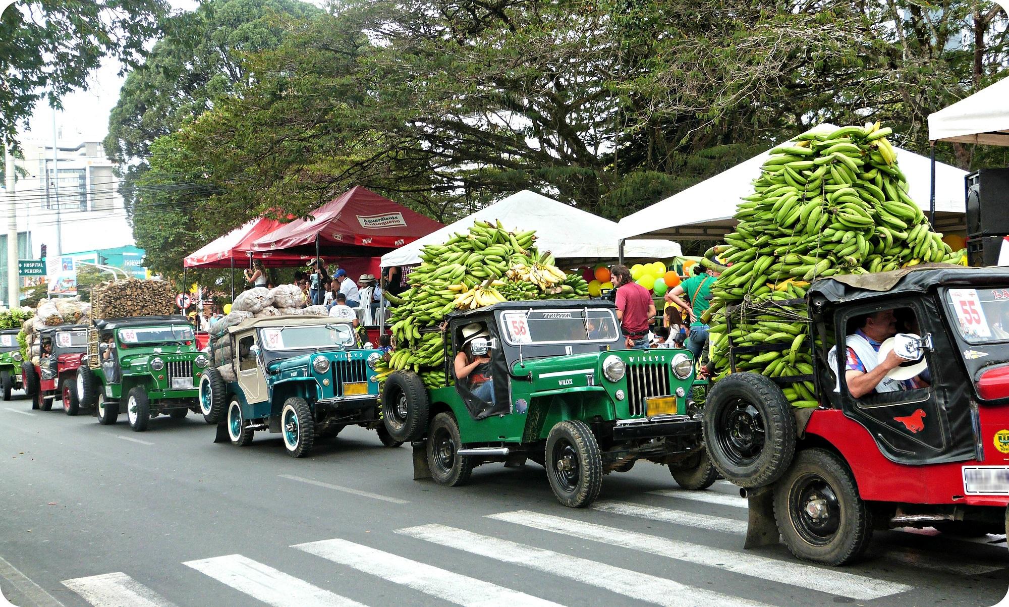 Farandole de jeeps chargées de bananes au défilé Yipao à Armenia