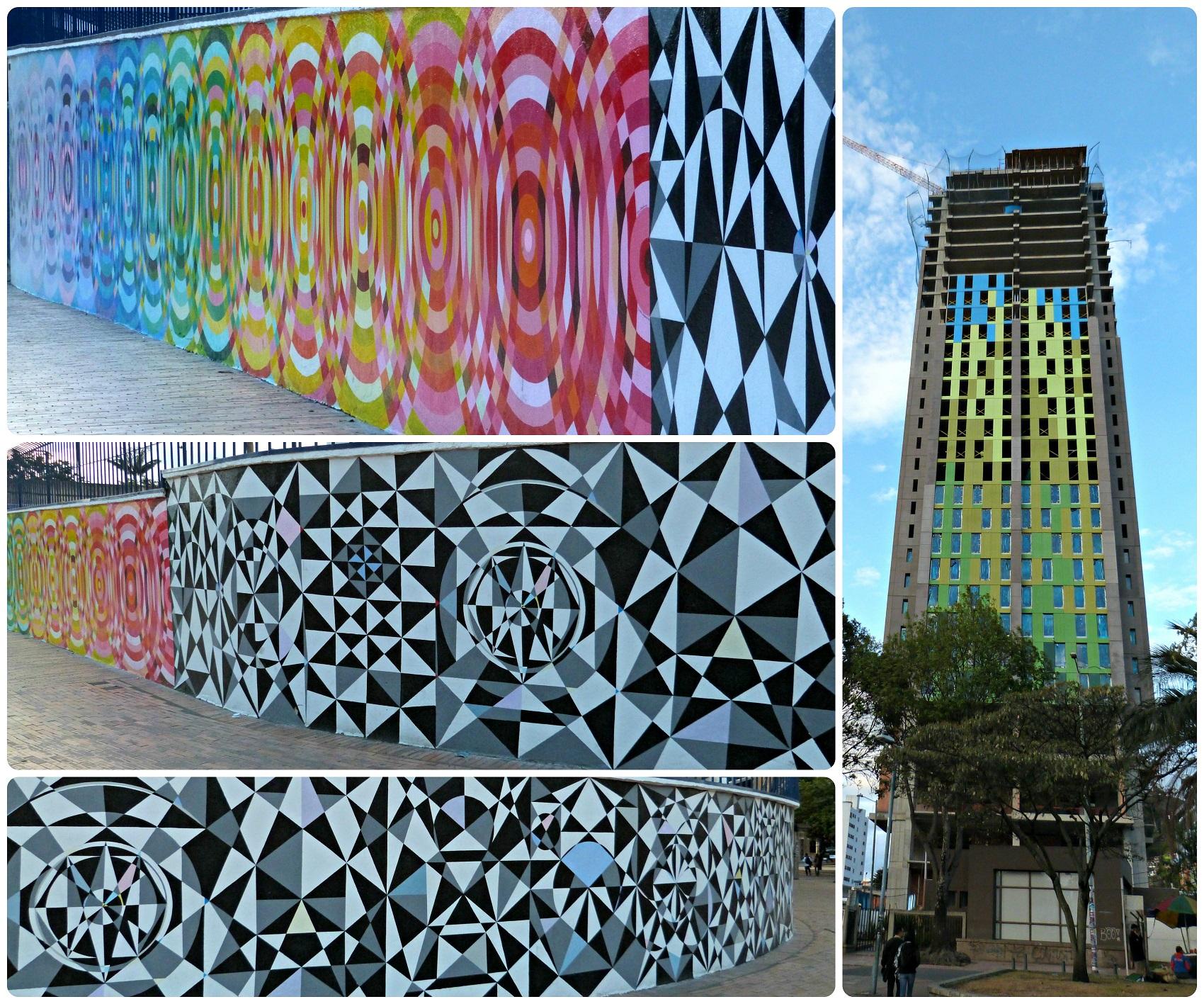 Street art sobre los muros y un edificio de Bogotá