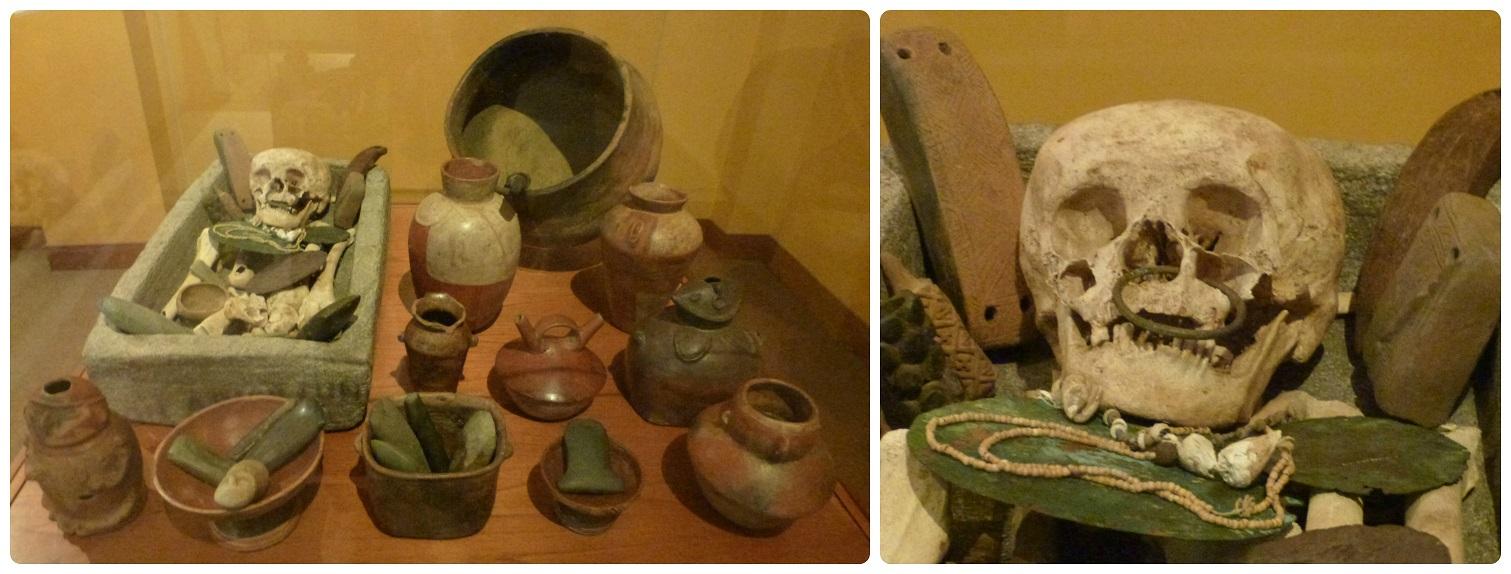 Vasijas y esqueleto presentados en una vitrina del Museo Arqueológico de Manizales