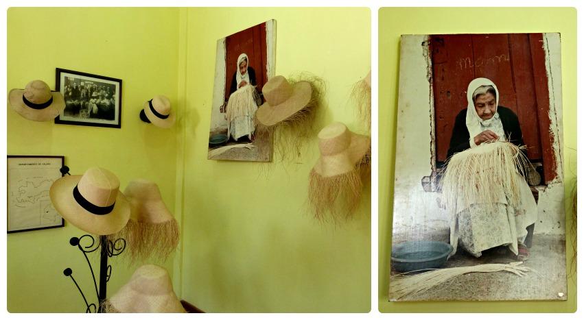 Chapeaux et photo d'une femme en train d'en fabriquer un, au musée national du chapeau de la maison de la culture d'Aguadas