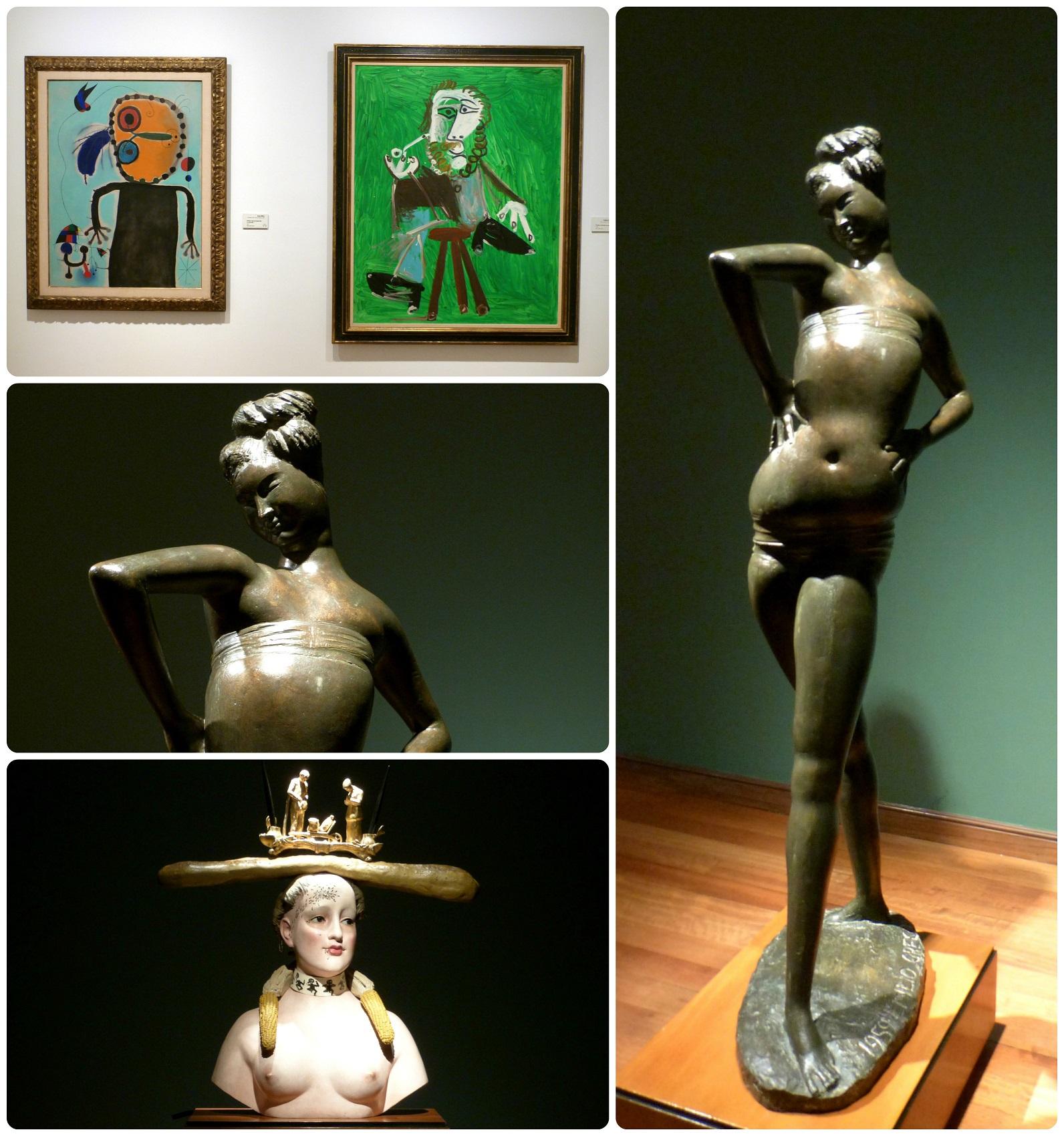 Cuadros y esculturas de artistas en el Museo Botero de Bogotá