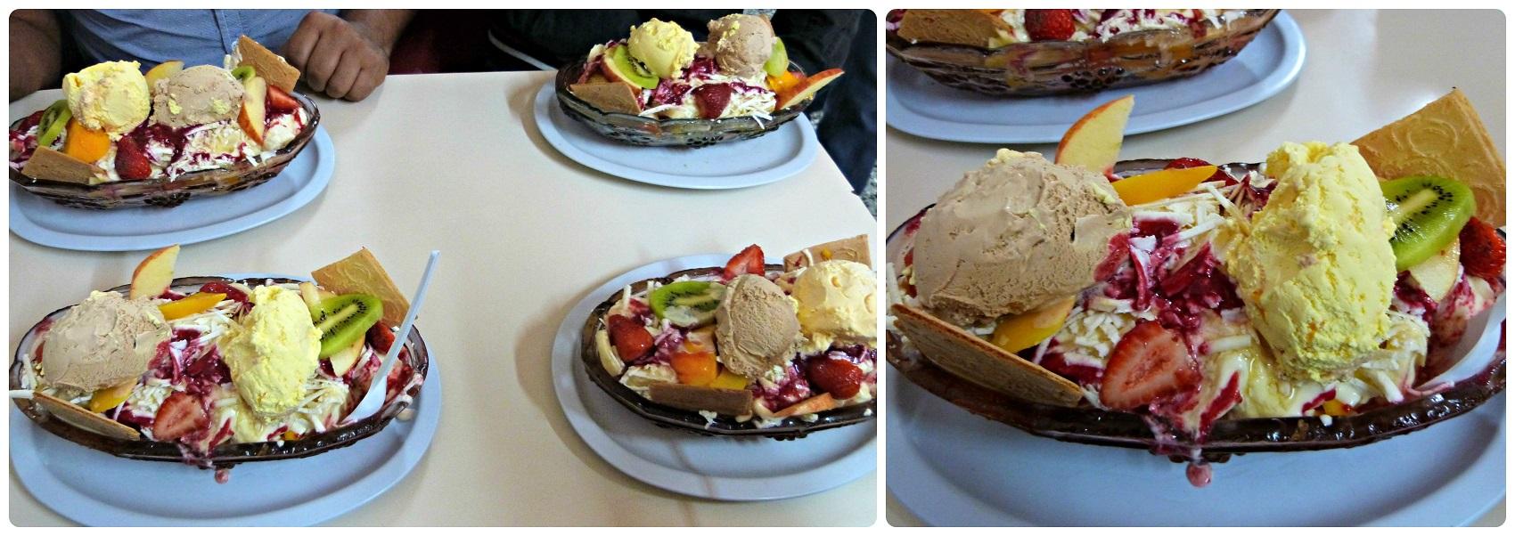 Salades de fruits, accompagnées de boules de glace, que nous avons commandés à Bogotá