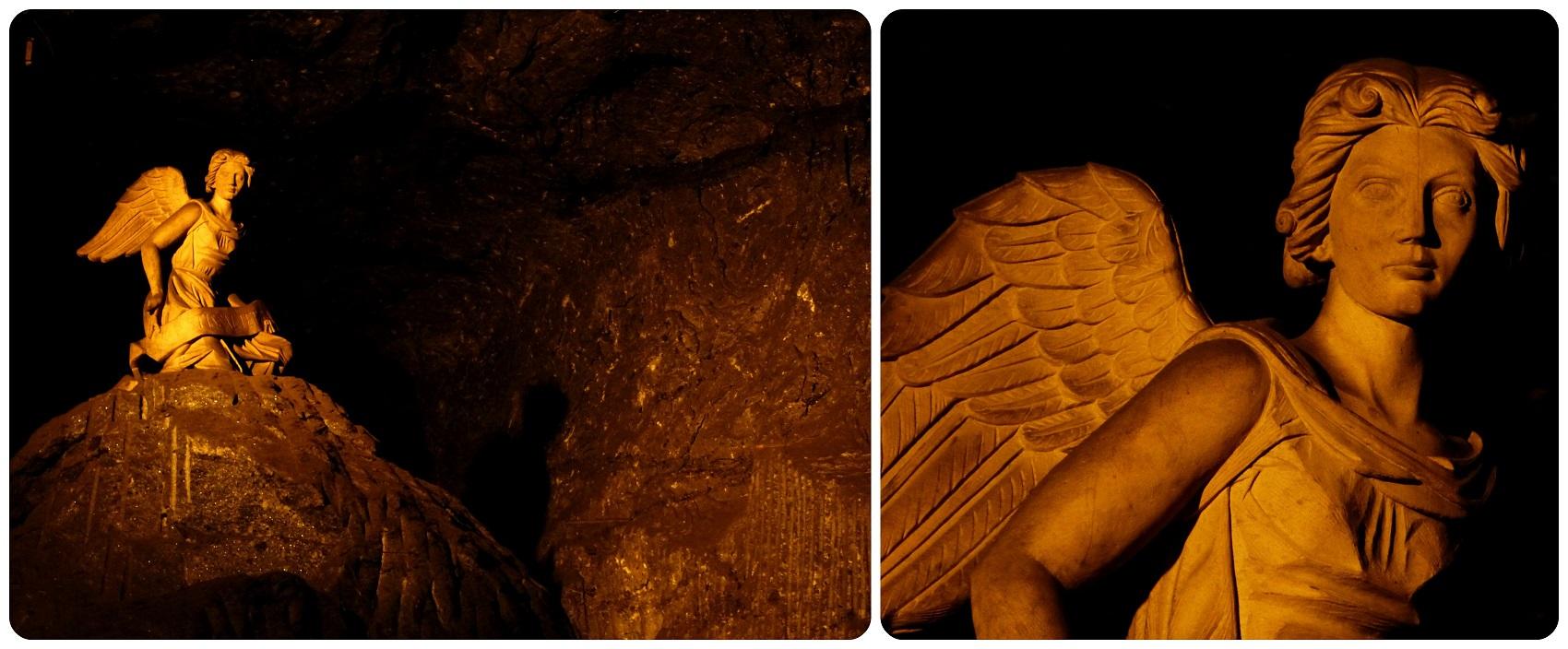 Un ange posé sur un énorme cailloux de la cathédrale de sel de Zipaquira