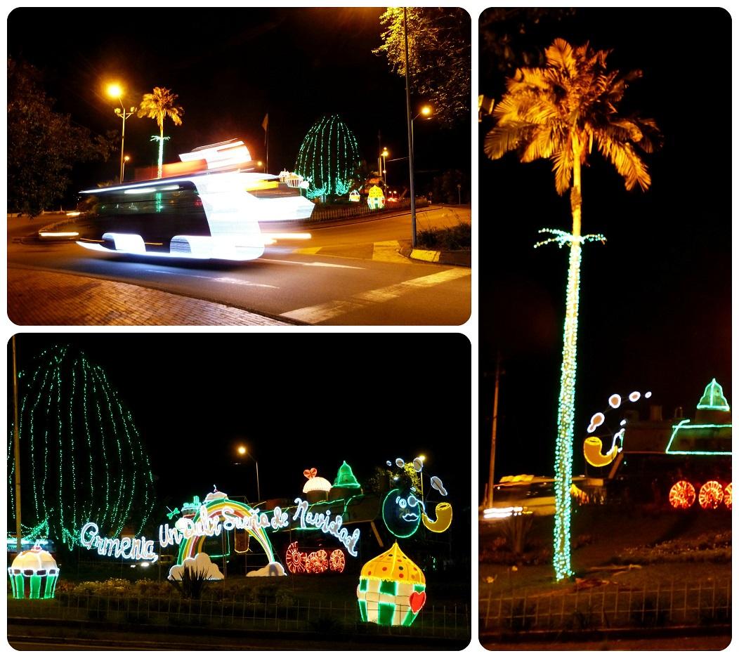 luces de navidad en una glorieta de Armenia