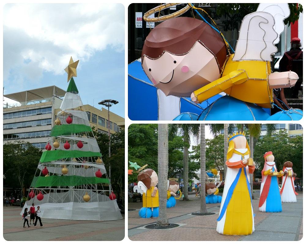 Decoraciones de Navidad en la plaza Bolívar de Armenia