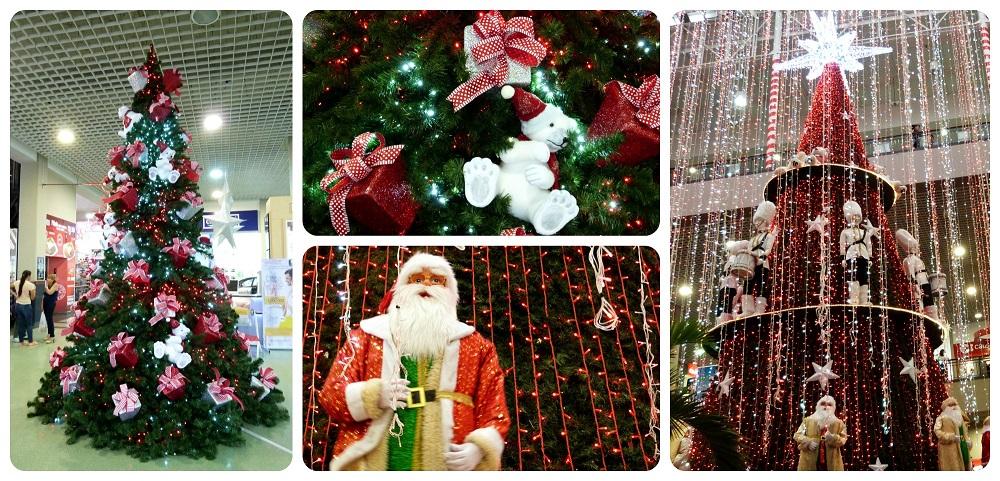 árboles de navidad y papa noel en el centro comercial Portal del Quindío al norte de Armenia