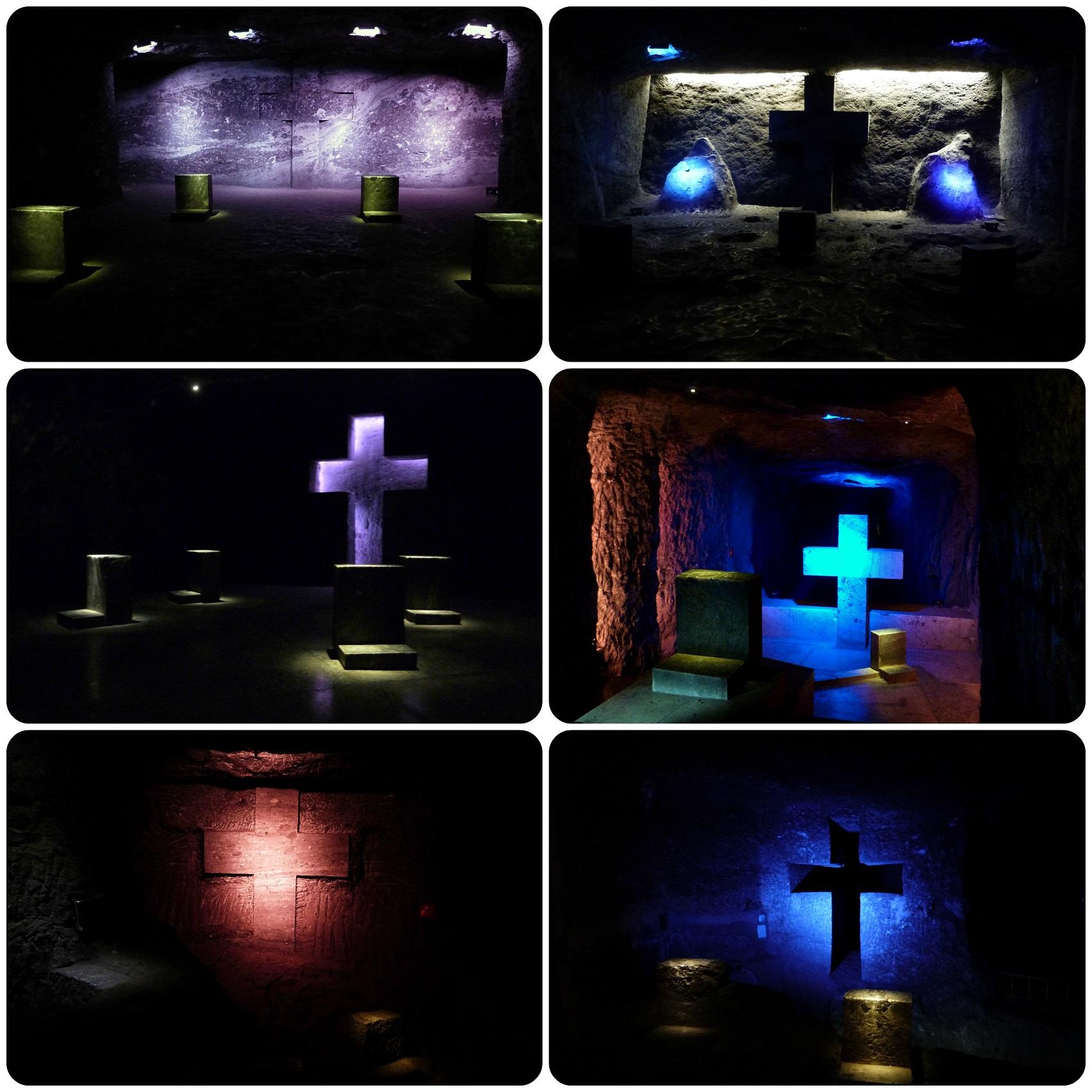 Scènes de la vie de Jésus représentées dans des cavités de la cathédrale de sel de Zipaquira