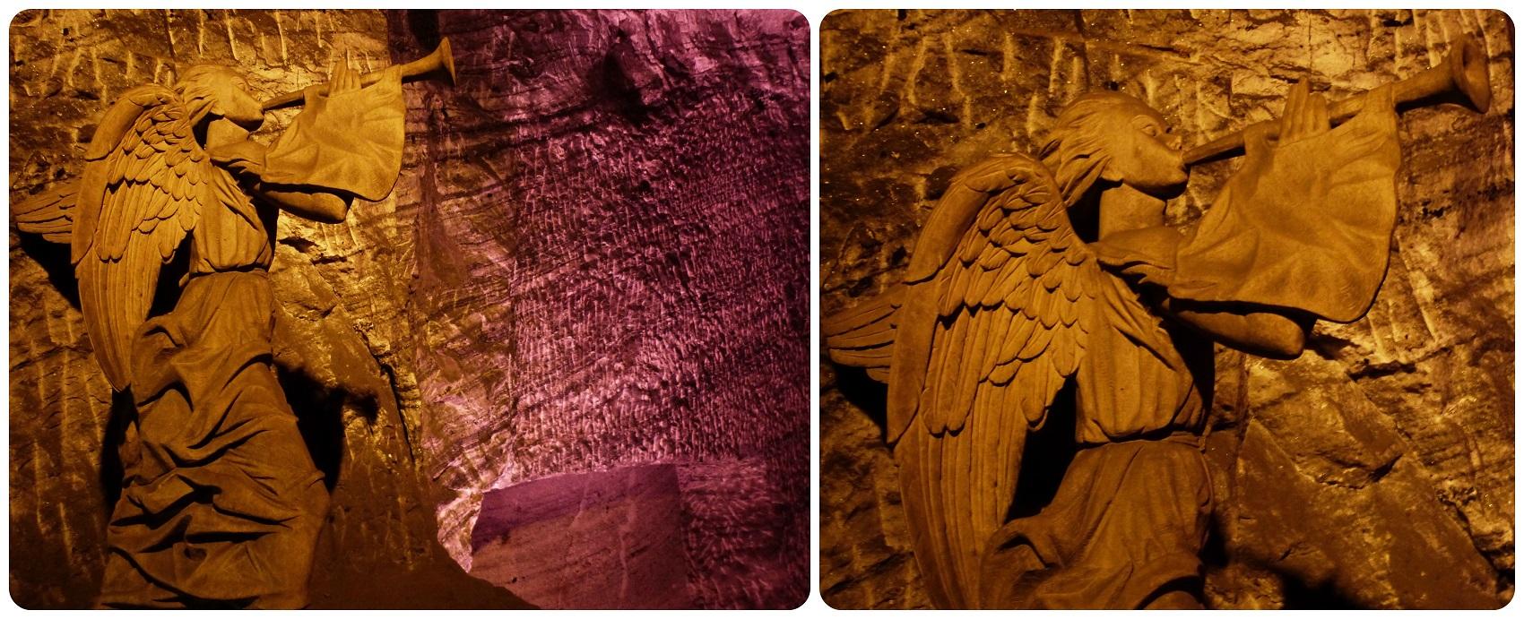 La sculpture de l'ange devant des éclairages violets de la cathédrale de sel de Zipaquira