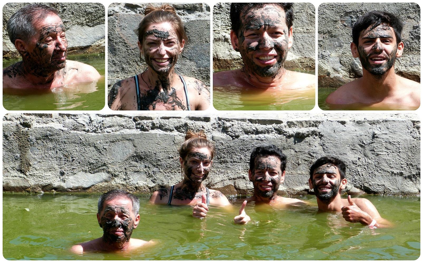 Nous avec de la boue sur le visage à Aguas Tibias de Coconuco
