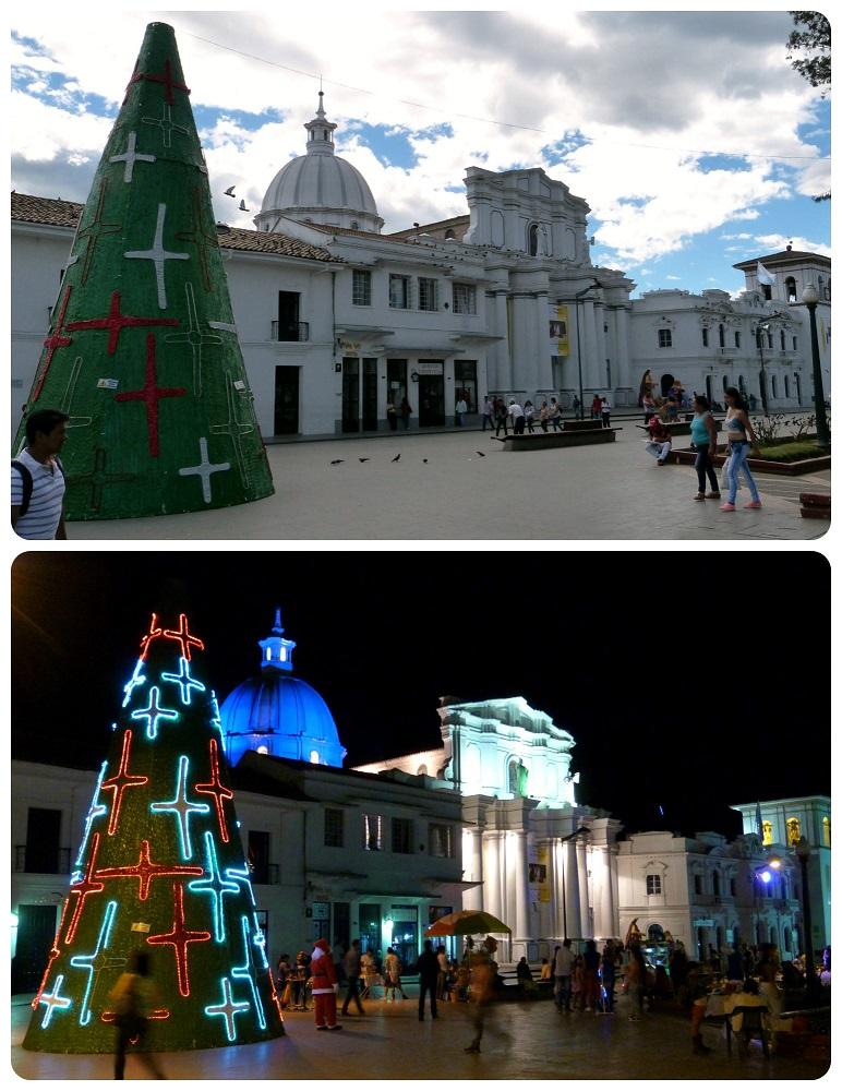 catedral de Popayán de día y de noche
