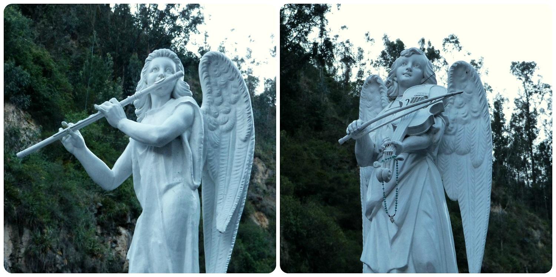 sculptures d'anges jouant de la musique au Santuario de las Lajas de Ipiales