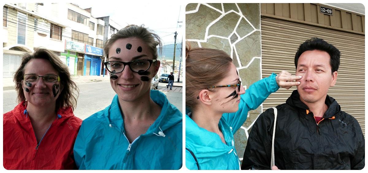 Nosu au départ du carnaval avec des points de peinture noire sur le visage pendant le Carnaval de Pasto