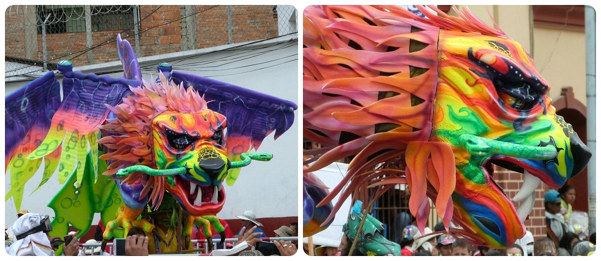 dragón en el desfile del carnaval de Pasto
