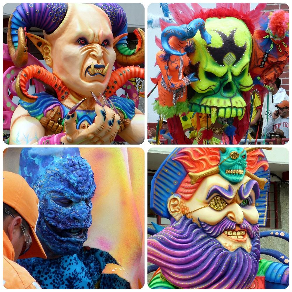 4 personajes malos en el carnaval de Pasto
