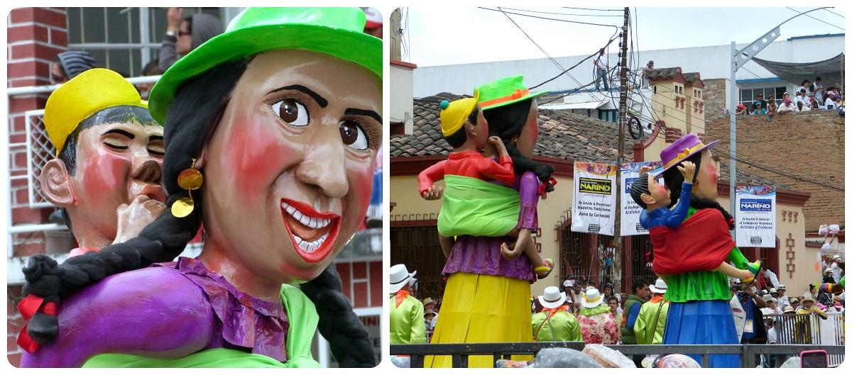 personajes mamá y su hijo en el carnaval de Pasto