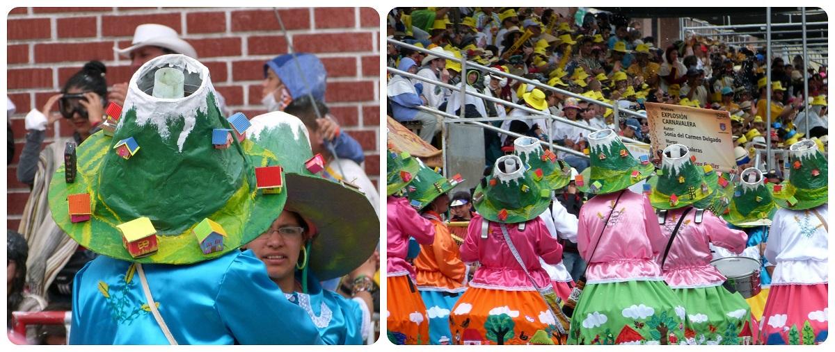 Grupo de mujeres con una representación del volcán en la cabeza en el carnaval de Pasto