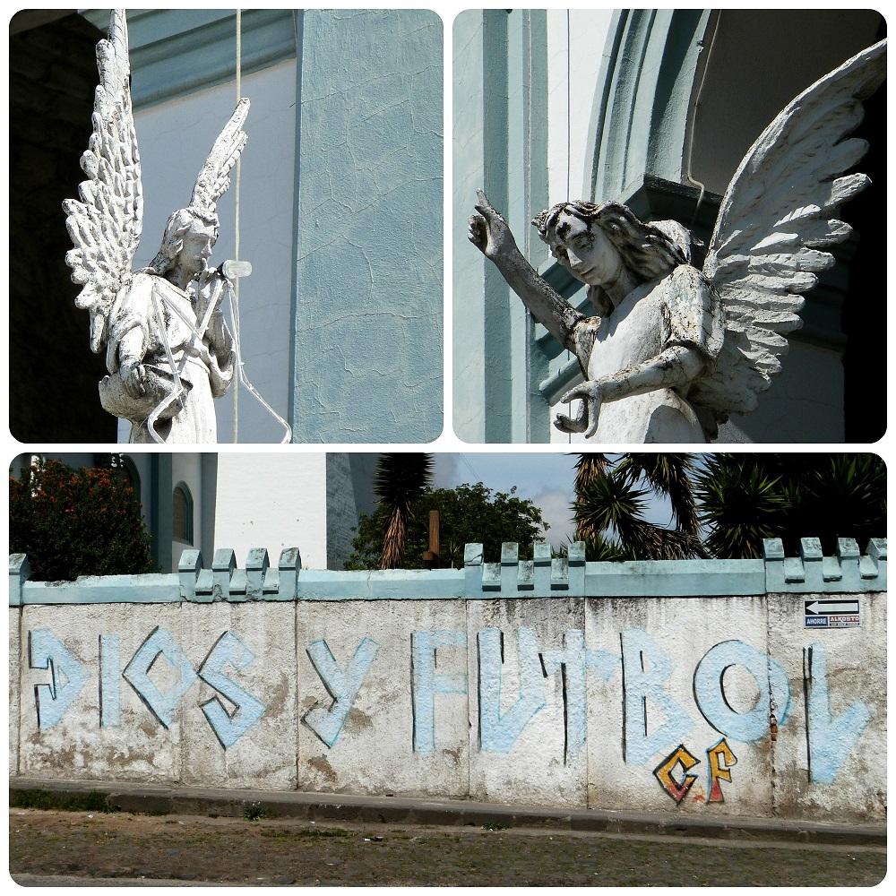 Zoom sur des anges et un mur du Temple San Felipe Neri de Pasto