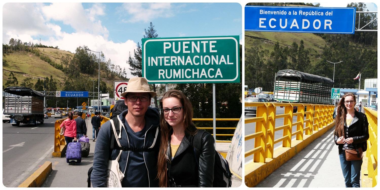 Nous à l'endroit de la frontière Colombie - Equateur sur le pont international Rumichaca