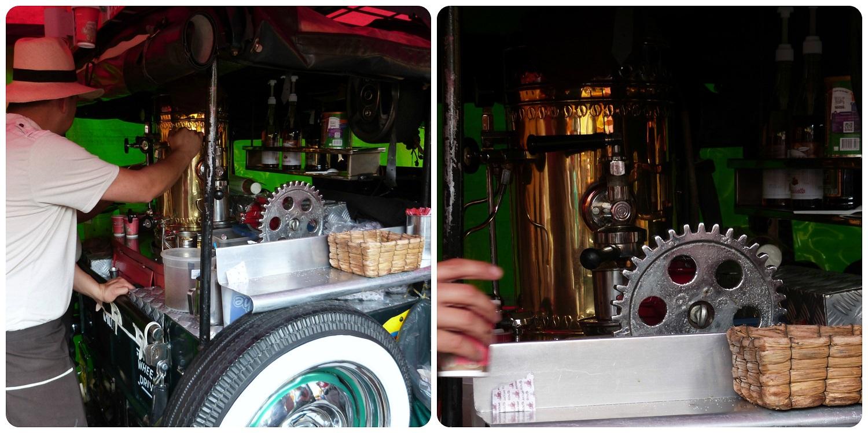café servi dans une Jeep Willys au Mercado de Pulgas de San Alejo à Bogotá