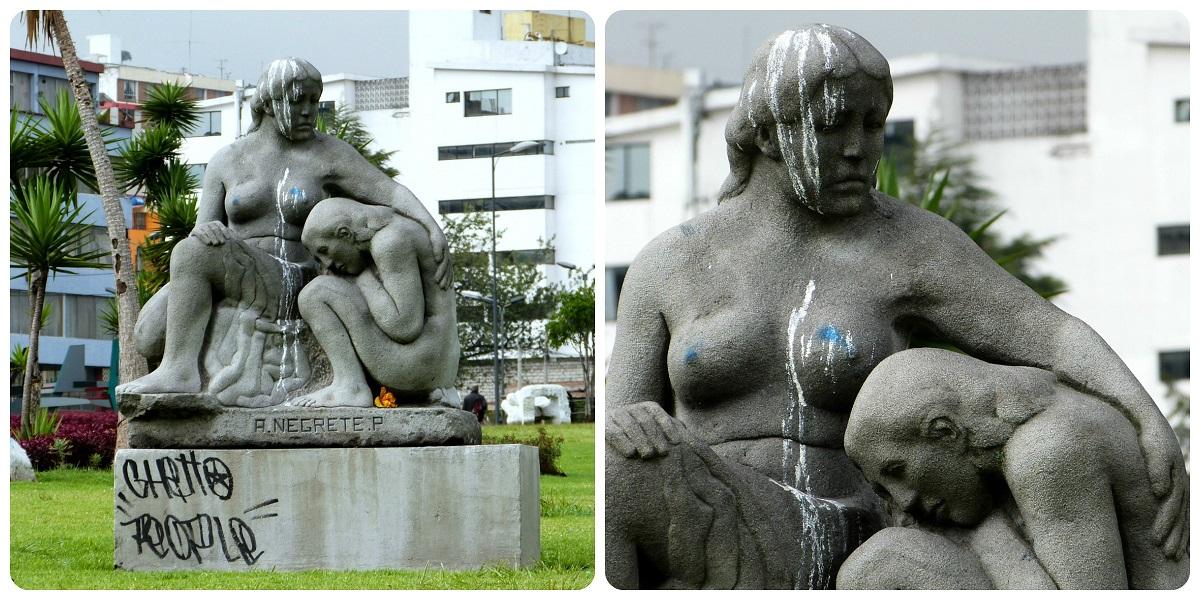 Escultura de Negrete en un parque de Quito
