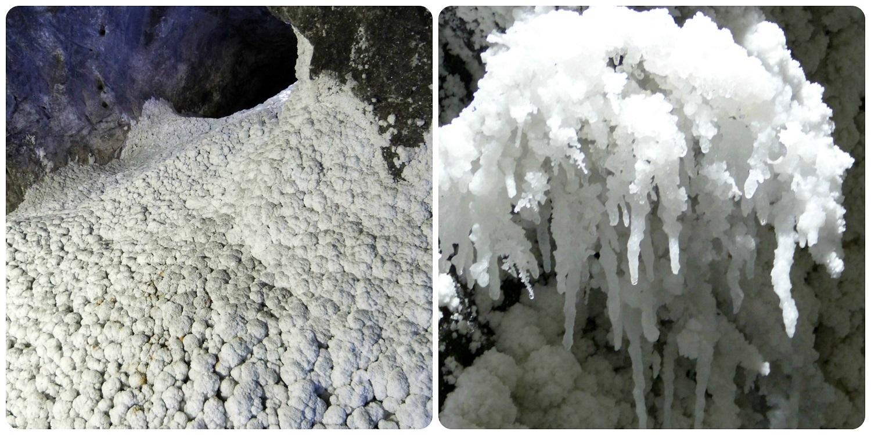 détails de la cristallisation du sel à la mina de sal de Nemocón