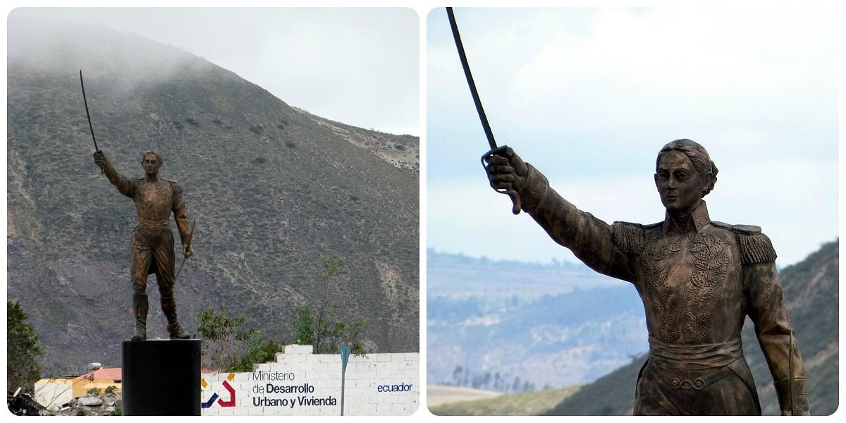 Estatua en la glorieta cerca de la Mitad del Mundo de Quito