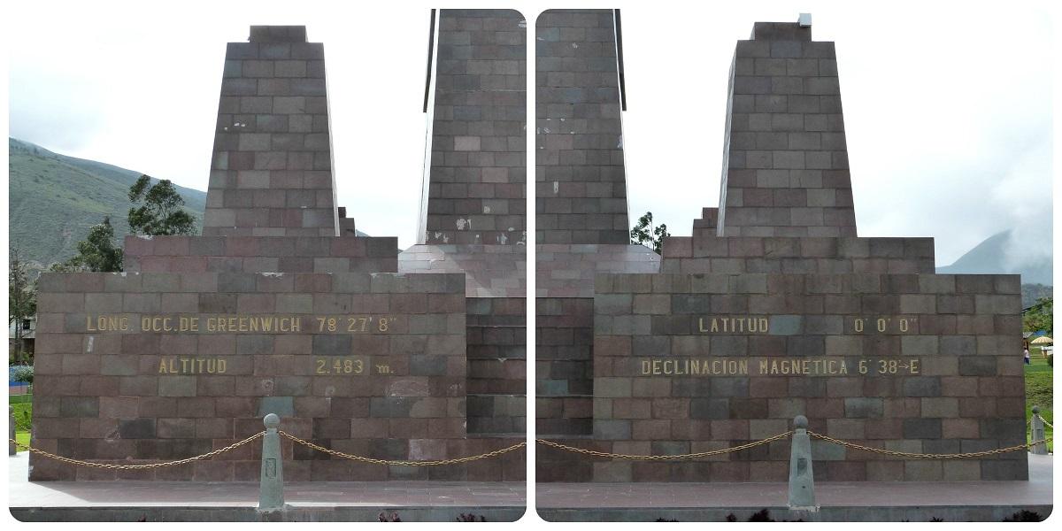 longitud y latitud en el monumento de la Mitad del Mundo de Quito
