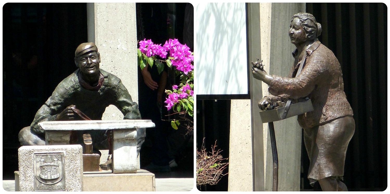 Sculptures représentant des professions dans le centre de Medellín